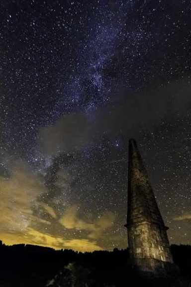 Star packed night time sky with Murray's Monument in the freground