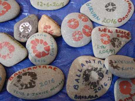 Messages painted on Biosphere Stones from Ballantrae beach 2016